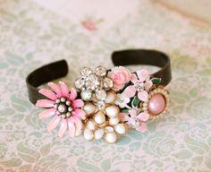 Romantic floral statement collage cuff