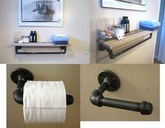 shelving made with pipe | Nautical Beach Cottage Reclaimed Cedar Pipe Shelf Towel hanger and ...
