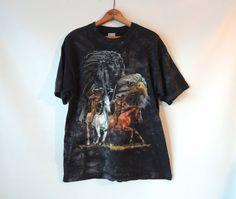 Native American Eagle Horse T-Shirt / Black Stonewash Bleach Tee / Vintage
