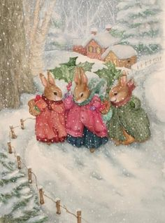 winter snow, animal pictures, pond hill, bunny art, snow bunnies