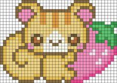 Squirrel With Strawberry Perler Bead Pattern | Bead Sprites | Animals Fuse Bead…