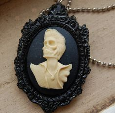 day of the dead elvis cameo necklace by chippednailpolish on Etsy, $10.00