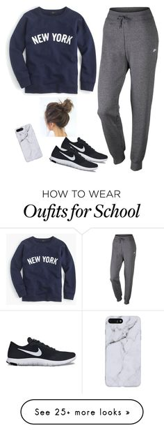 """""""Lazyy school day✌️//Im back lol//"""" by randagirl-1 on Polyvore featuring NIKE and J.Crew"""