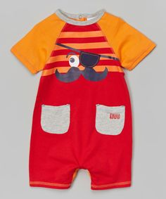 This Coral Rose Mustache Romper - Infant by Rococo is perfect! #zulilyfinds