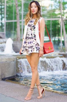 Aimee Song of Song of Style in a printed romper + white vest, quirky prints Song Of Style, My Style, Estilo Cool, Estilo Blogger, Style Finder, Looks Street Style, Fashion Blogger Style, Queen, Party Looks