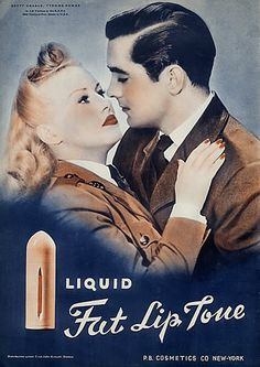 Ets P.B (Cosmetics) Betty Grable & Tyrone Power 1940 Lipstick