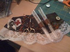 Steampunk Leather Bracer by *veririaa on deviantART  Thought it might be a garter belt when I first saw it.