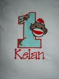 Sock monkey birthday shirt!