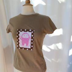 Tshirt womens skipping girl slim fit khaki applique by BoosTees, $18.00