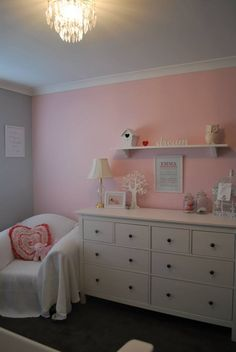 Emma's Room  Wall painted in Dulux Nursery, grey wall is Dulux Silkwort, Hemnes drawers from ikea