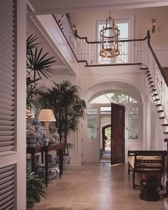 Scott Snyder Inc. Waterfront Palm Beach, FL home project...beautiful entry way.  love the b/w accents