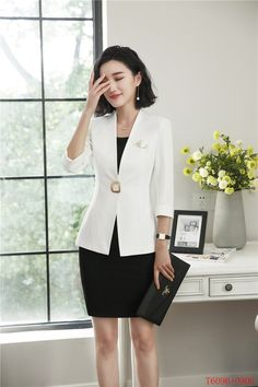 601b2588721 Formal Spring Summer Fashion Blazers Suits With Two Piece Jackets And Dress  Office Ladies Business Work Wear Uniforms Sets