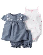 Complete with cute embroidery, a soft cotton bodysuit and bubble shorts, this soft chambray set is perfect for spring.