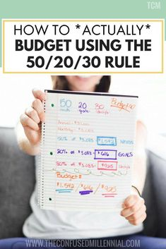 How To *Actually* Budget Using The 50 20 30 Guideline The Confused Millennial : How To Actually Budget Using The 50 20 30 Guideline, tips and ideas for budgeting in your twenties, how to plan your personal finance money, Financial Peace, Financial Tips, Financial Planning, Financial Assistance, Budgeting Finances, Budgeting Tips, Budgeting System, Monthly Expenses, Making A Budget