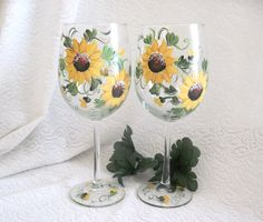 Sunflower hand painted pair of wine glasses by DeannaBakale