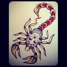 scorpion tattoo skull