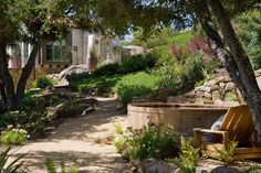 Romantic Hillside garden in Santa Barbara, CA. Margie Grace - Grace Design Associates.