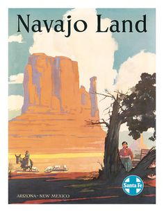 """Both the Santa Fe Railroad (this poster) and Navajo Land play important roles in """"Seashells in the Desert"""""""