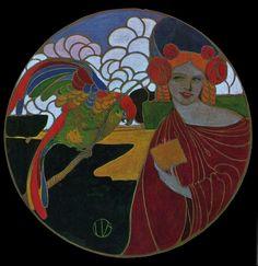 Umberto Brunelleschi - Illustrazione Femme au Perroquet 1905 #TuscanyAgriturismoGiratola