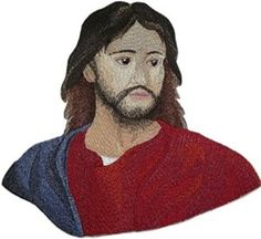 "Amazon.com: [Single Count] Custom and Unique (8"" Inches) Religious Icon Central Figure of Christianity Jesus Of Nazareth Iron On Embroidered Applique Patch {Red, Blue, Beige & Brown Colored}: Arts, Crafts & Sewing"