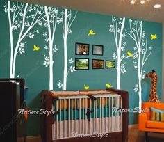 tree wall decals birds nature forest Vinyl wall decals wall decal nursery wall sticker children wall decal office-5 Tree with Flying Birds. $98.00, via Etsy.