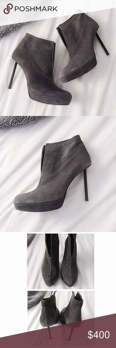 """Stuart Weitzman Suede Booties w/ Metal Heel An edgy ankle boot with all of Stuart Weitzman's iconic features, these suede booties feature a matte black, rubber-coated metal cylindrical heel likened to a screw fastening. Upper crafted from SW's signature butter-soft suede w/ open front & hidden elastic panel for easy on/off. Almond toe style w/ padded leather insole & platform for comfort. 4""""heel w/ 1"""" platform, size 7.5M (med width). Worn once for a 2-hr event, nearly new w/ very minimal…"""