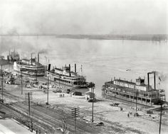 "Memphis, Tennessee, circa 1900. ""Mississippi River levee from the custom house. Steamboats James Lee, Harry Lee and City St. Joseph."""