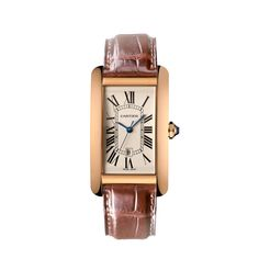 Tank Américaine watch, large model - Automatic, pink gold, sapphire, leather - Fine Timepieces for men and for women - Cartier