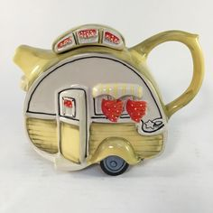 Blue Sky Clayworks Ceramic Hand Painted Dining Car Vintage Retro Teapot Tea