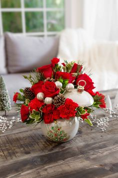 Teleflora's Classic Pearl Ornament Bouquet | Christmas Flowers | Christmas Ornament | Keepsake Gift | #teleflora #flowers #christmas