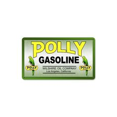 POLLY GAS- started somewhere between 1910-1920. Most Polly gas stations were independently owned and operated along the West Coast. Polly Gas was around for 40-50 years before being purchased by Gulf around 1960.  Polly Petroliana Items are Highly collectible. Polly Petroliana features a parrot on their Advertising items.