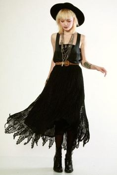90's Does 70's Crochet Lace Dress from Thrifted and Modern. Wear it black! New gothic style.