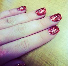 My real nails: rock star nails, red glitter gel nails