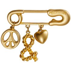 Moschino Vintage 'Peace & Love' Charm Safety Pin Brooch | 1stdibs.com