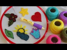How to Making Punch Needle *Needle Punching is easy to start and impossible to stop! ★To ensure that you buy our quality punch needle correctly, please recog. Hand Embroidery Designs, Diy Embroidery, Embroidery Patterns, Crochet Patterns, How To Make Punch, Diy Sticker, Charm Pack Quilt Patterns, Wie Macht Man, Punch Art