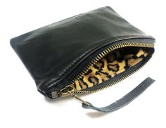 BLACK Leather Pouch Small Leather Wallet Leather Zipper