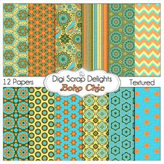 Boho Chic Digital Papers in Turquoise Aqua Orange w Chevron Paisley Patterns: Buy 2 Get 1 Free. Etsy.
