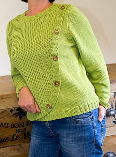 "Ravelry: ""Elena"" - Cardigan Sweater with button band pattern by Rita Maassen"