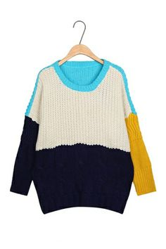 Round Neck Color Contrast Sweater [FKBJ10377]- US$ 21.99 - PersunMall.com