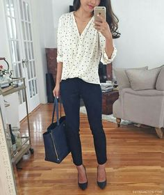 Black pants chic work outfit