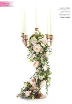 gold candelabra wedding centrepieces featured in wedding flowers magazine by passion for flowers