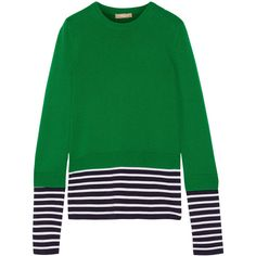 Michael Kors Collection Layered striped jersey and cotton and... ($1,180) ❤ liked on Polyvore featuring tops, sweaters, green, striped sweater, double layer sweater, stripe top, green jersey and green striped sweater