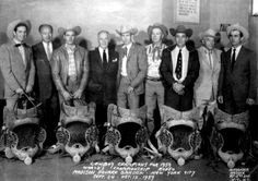 1959 WORLD'S CHAMPIONSHIP RODEO - Madison Square Garden - New York City - l. to r. - Casey Tibbs (Saddle Bronc Riding) - unidentified - Bill Rinestine (Bull Riding) - unidentified - Jim Shoulders (Bareback Bronc Riding) - arena secretary Harry Knight - Jim Bob Altizer (Calf Roping) - rodeo producer Everett Colburn - unknown - October 12, 1959.