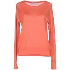 Paul & Joe Jumper ($165) ❤ liked on Polyvore featuring tops, sweaters, salmon pink, woolen sweater, pink wool sweater, long sleeve tops, red wool sweater and pink long sleeve top