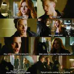 Season 1 Episode 7: Jace and Clary.... I love how he was really shocked and then starts going along with it. Plus he keeps bringing it up as the episode goes on, all bah baby about it