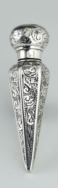 1894 bright cut sterling silver scent perfume bottle