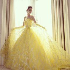 Yellow Wedding Dress by kiyokohata. Quince Dresses, 15 Dresses, Ball Dresses, Ball Gowns, Yellow Ballgown, Yellow Dress, Multicolor Wedding, Beauty And Beast Wedding, Disney Princess Dresses