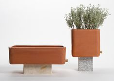 Tanque: partially glazed terracotta basins designed by Rui Pereira to be used as vases or aquariums |  Made by Irmãos Regas and Manuel Rêga | #design #industrial_design #tanque