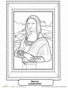 First Grade Life Learning History Worksheets: Mona Lisa Coloring Page Worksheet
