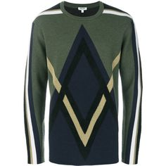 Kenzo Wool Crewneck Sweater (€320) ❤ liked on Polyvore featuring men's fashion, men's clothing, men's sweaters, brown, mens argyle sweater, mens crewneck sweaters, mens ribbed crew neck sweater, mens crew neck sweaters and mens short sleeve sweater